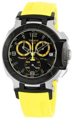 Tissot T-Sport T-Race Quartz Mens Watch T0484172705703 Tissot. $427.50. Chronograph Display. Round Stainless Steel Case. Yellow Rubber Strap. Water Resistance : 10 ATM / 100 meters / 330 feet. Quartz ETA G10.211