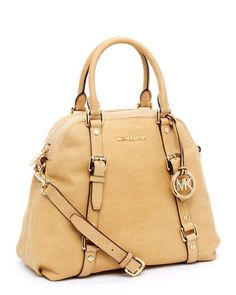 Michael Kors Large Bedford Bowling Satchel, Tan.