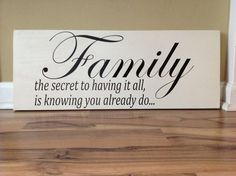 Large Family the secret to having it all wooden hanging wall decor sign Inspirational quote distressed home decor sign 24 x 10 hand painted