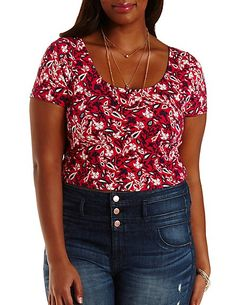 Plus Size Lace-Back Floral Crop Top: Charlotte Russe #CharlotteRussePlus #Charlotte0to24 #Plus