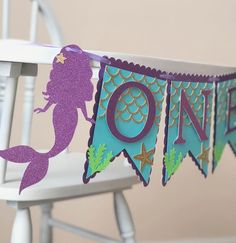 Mermaid Birthday High Chair Banner  First Birthday Banner for image 3