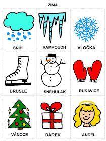 Pro Šíšu: Rocni obdobi - obrazky Christmas Activities For Kids, Pictogram, Winter Time, Diy For Kids, Montessori, Alphabet, Diy And Crafts, Kindergarten, Doodles