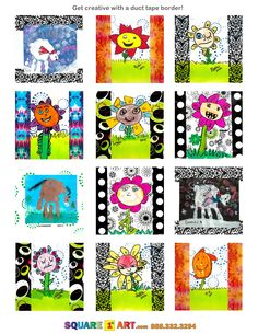 Use a tape border to create variety in your art!  www.square1art.com Square One Art, Art School, School Ideas, Art Cart, 4th Grade Art, Handprint Art, Addressing Envelopes, Mini Canvas, First Art