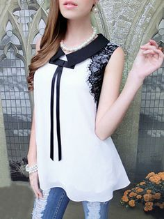 Chiffon Sleeveless Shirt with Lace and Bow Detail