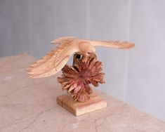 "20/"" Large Hand Carved Soaring Fly Wooden Owl Statue Sculpture Figurine Art Decor"