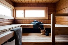 People have been enjoying the benefits of saunas for centuries. Spending just a short while relaxing in a sauna can help you destress, invigorate your skin Interior Garden, Interior Design, Design Design, Outdoor Sauna, Sauna Design, Finnish Sauna, Infrared Sauna, Saunas, Painted Doors
