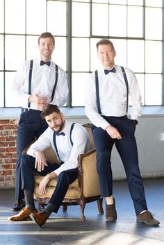 Armoniia navy bow ties and suspenders are an easy way to outfit your entire wedding party from ring bearer to groom and groomsmen.<br>... Country Groom Attire, Casual Groom Attire, Casual Grooms, Groom And Groomsmen, Navy Bow Tie, Bow Ties, Ring Bearer Outfit, Dress Attire