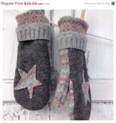 Sweater Mittens, Wool Sweaters, Sewing Projects For Kids, Sewing For Kids, Old Sweater Crafts, Wool Felt, Felted Wool, Wool Gloves, Recycled Sweaters