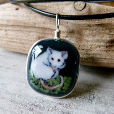 Rat - fused glass pendant