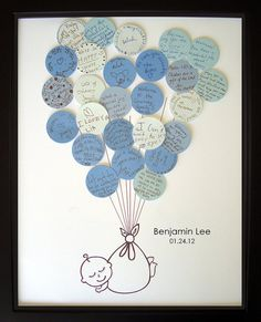 words to baby. Really cute idea!!! Must remember to do this for hospital/day baby comes home..... get everyone to fill out a balloon.. even doctors/nurses :)