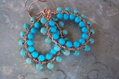 Turquoise and copper hoops by mooliemarket on Etsy, $24.00