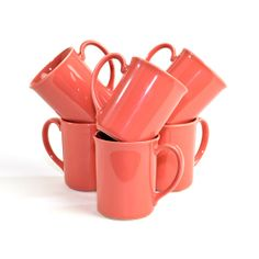 Marvelous Coral Corning Coffee Cups   Gorgeous Microwavable Corningware Ceramic  Serving Mug Set, Cottage Chic   Vintage Retro Home Kitchen