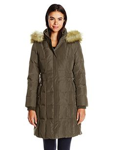 Jones New York Womens Down Coat with Faux Fur Hood * To view further for this item, visit the image link. (This is an affiliate link)