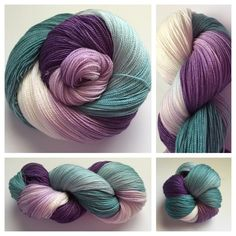 MERMAID LOCKS ~ one of my most popular variegated colorways...These skeins are 875 yards of sw merino and silk ~ YOWZAH!! So many possibilities! Color(s): purple, teal, white/cream (I use only professional grade dyes)  Fiber(s): 80% superwash merino, 20% silk  Weight: lace, 2-ply  Length/yardage: +/- 875 yards  Care instructions: hand wash, lay flat to dry #yarnbaby