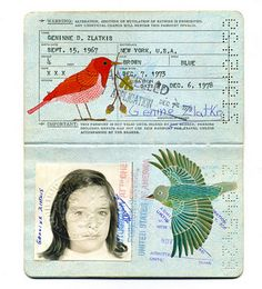 Old passport turned collage/journal @ Jill Brown... This totally reminds me of something you said on your AES!!
