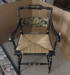 Hitchcock Turtle Back Arm Chair with Rush Seat   eBay