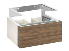 """KEUCO Vanity unit 30362 EDITION 300 Bathroom furniture - 25"""" colors: olive, walnut, with white, sahara or anthracite body - shallow drawer, thick sink top"""