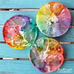 Alcohol Ink Art Rainbow Resin Coasters DIY! Make petrified rainbows cast in resin using alcohol inks.
