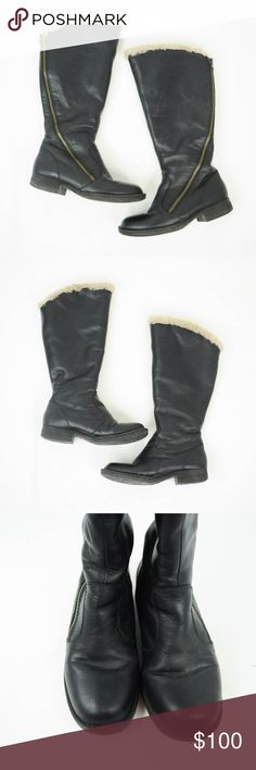 """Born Muna Boots Black Leather Shearling Zipper 7 Born Womens Muna Boots Sz 7 M Black Leather Shearling Lined Knee High Zipper  Description  Material: Leather Upper, Real Shearling Lining Size: 7M  Measurements (in inches):  Heel Height - 1"""" Shaft Height - 14"""" **All our products come from a clean and smoke-free household.** Born Shoes Over the Knee Boots"""