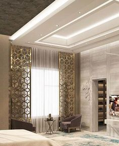 53 Ceiling Decor For Starting Your Home Improvement - Ceiling design Ceiling Design Living Room, False Ceiling Design, Ceiling Decor, Luxury Bedroom Design, New Interior Design, Interior Ceiling Design, Interior Decorating, Plafond Design, Suites