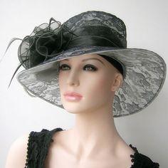 Women Black Gold Organza Wide Brim Church Dress Derby Hats Formal ...