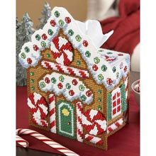 Gingerbread House Tissue Box Plastic Canvas Kit - Herrschners<~~Mine does not look as good as this, but it was a great for ideas. Plastic Canvas Ornaments, Plastic Canvas Tissue Boxes, Plastic Canvas Crafts, Xmas Ornaments, Plastic Canvas Patterns, Plastic Canvas Christmas, Holiday Crochet, Christmas Crafts For Gifts, Ppr