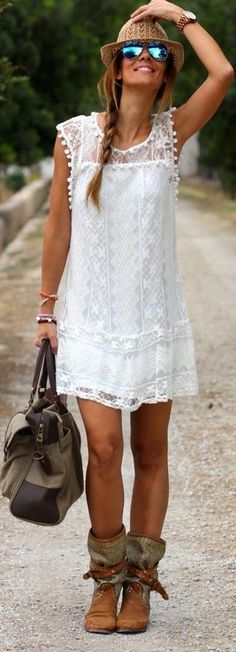 Women's White Lace Shift Dress, Brown Leather Mid-Calf Boots, Olive Canvas Tote Bag, Khaki Straw Hat