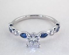 .7ct Side stones Princess Engagement Ring White Gold