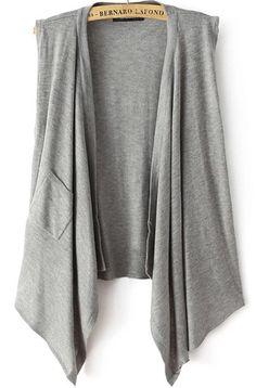 Grey Sleeveless Pocket Knit Cape Sweater 26.67