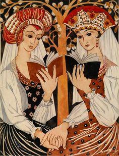Natalia Goncharova (1881-1962) - Two Russian Maidens
