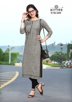 Shop Office Wear Kurtis Online with the best price. Our fashion magazine helps you get the stylish look for Office and Daily life. Churidar Designs, Kurti Neck Designs, Kurta Designs Women, Pakistani Casual Wear, Pakistani Outfits, Sarees For Girls, Office Outfits Women, Neckline Designs, Special Dresses