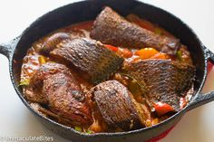 Caribbean Fish Stew - Immaculate Bites - Whitney White - Caribbean Fish Stew - Immaculate Bites Caribbean Fish Stew (Brown Stew fish) A simple Stew with marinated red snapper and Tilapia, infused with spices , herbs , tomatoes. Red Snapper Recipes, Tilapia Recipes, Fish Recipes, Seafood Recipes, Cooking Recipes, Cooking Tips, Recipies, Jamaican Dishes, Jamaican Recipes