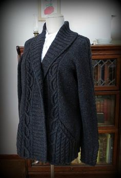 theraineysisters - Roosevelt Cardigan knit in Harrisville Watershed, color Penstock.