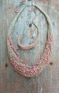 #льняное колье, #украшения из льна, эко-украшения #linen cord necklace with beads, #linen jewellary, hand-made necklace by art-kvitka