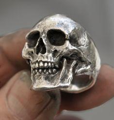 Skull ring Large size full jaw silver mens skull biker masonic rock n roll gothic handmade jewelry .925 etsy