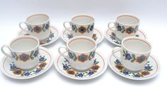 Fabulous Set of 6 Mid Century Vintage Flower Power Cups and Saucers by Barratts  #MidCenturyModern #CupsSaucers