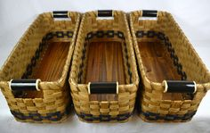 Items similar to THREE Handmade Storage Bin or Shelf Baskets for Cubbies, Pantry, or Closet on Etsy Weaving Art, Hand Weaving, Basket Shelves, Baskets, Art N Craft, Birch Bark, Basket Decoration, Gourd Art, Projects To Try