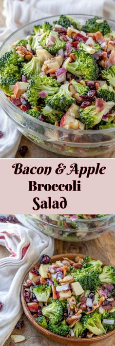 Bacon and Apple Broccoli Salad Bacon and Apple Broccoli Salad Wishes and Dishes Apple Broccoli Salad, Best Broccoli Salad Recipe, Broccoli Cauliflower Salad, Fresh Broccoli, Pasta Salad Recipes, Healthy Salad Recipes, Broccoli Dishes, Apple Salad, Picnic Side Dishes