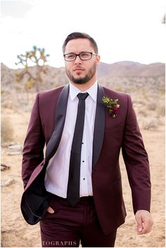 Joshua Tree Styled Engagement, Burgundy Tuxedo, Burgundy and Gold, Classic, Sophisticated, Trendy, Desert Styled Engagement » Honey Photographs by Alyss (see more here: http://www.honeyphotographs.com/joshua-tree-styled-engagement-cloe-anthony/)