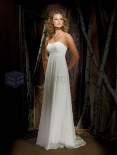 Column Georgette Embroidered Bodice Softly Curved Neckline Sweep Train Wedding Dresses