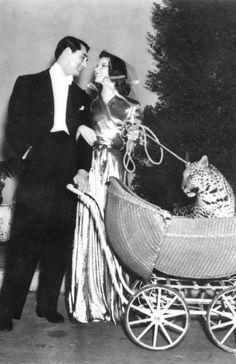 "Cary Grant and Katharine Hepburn in ""Bringing Up Baby"""