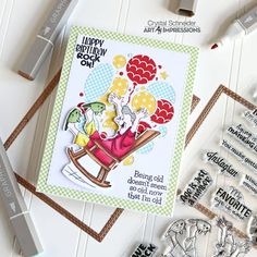 Art Impressions Blog: Happy Birthday Rock On! by Crystal Laugh Lines, Art Impressions, Happy Birthday, Bullet Journal, Stamp, Rock, Crystals, Blog, How To Make