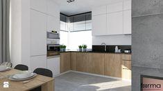 DOM WIELICZKA - Średnia otwarta kuchnia w kształcie litery l w aneksie z oknem, styl nowoczesny - zdjęcie od FORMA - Pracownia Architektury Wnętrz i Krajobrazu