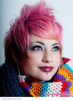 Glam Pink Hair Style  Punk Girl Hairstyles pictures     This glam pink hair style can definitely catch the eye of all hair fans. Go for this vibrant and bold shade if you're ready for a dramatic change. Short hair looks simply stunning when punked up with a lovely hue.