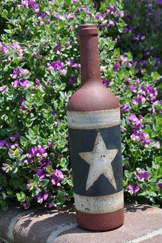 primitive painted wine bottle by primitivetomodernart on Etsy, $14.00