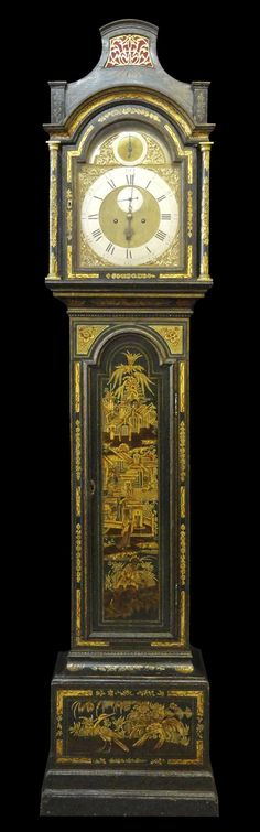 A George III Green Japanned & Gilt Tall Case Clock by Charles Penton, London. 1770- Hyde Park Antiques, Ltd.