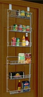 Over the pantry door shelves to increase your total pantry storage space {featured on Home Storage Solutions 101}