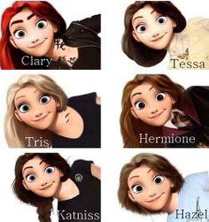 Clary, Tessa, Tris, Hermione, Katniss and Hazel.