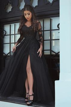 2017 Black Prom Dresses with Long Sleeves Lace Appliques Sexy Side Slit Party Gowns Women Dresses Ball Gown Prom Dress