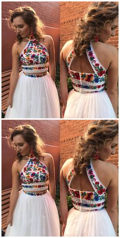 High Neck Two Piece Floral Embroidery White Long Prom Dress,Prom Dresses,Evening Dress, Prom Gowns, Formal Women Dress,prom dress P0671 #2piecespromdress #2piece #2pieces #twopieces #promdress #promdresses #hiprom #tulleprom #GraduationDress #2018 #PartyDress #whiteprom
